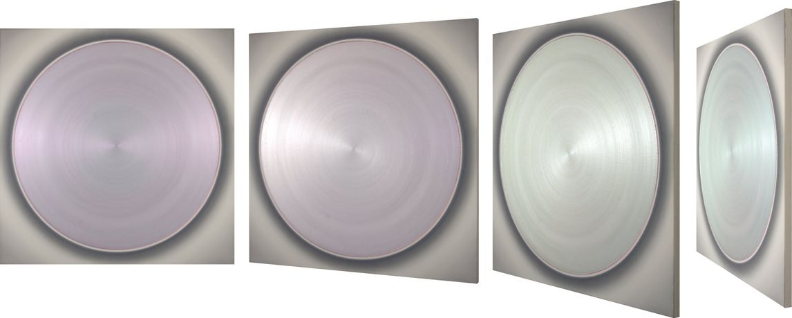 Robert Schaberl, ZF Light Purple Dance with Pale Green on Soft Silver Grey, 2012, acrylic on canvas, 160 x 160 cm.
