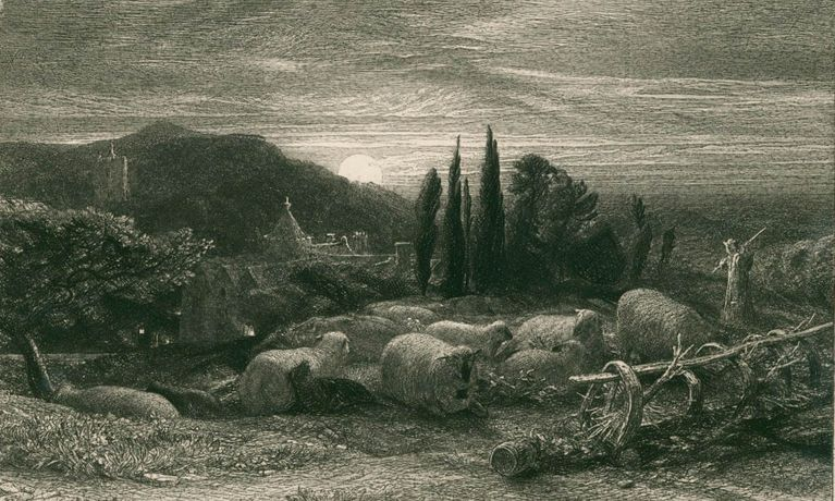 Samuel Palmer The Rising Moon, etching, 1857 (courtesy Pallant House Gallery)