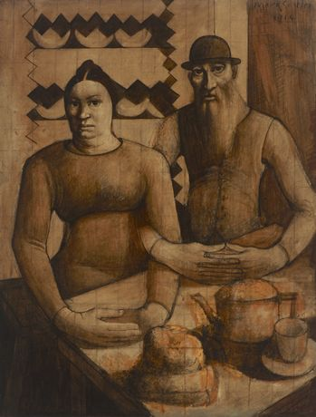 Mark Gertler, Rabbi and Rabbitzin, 1914.© Luke Gertler.  Ben Uri Collection.