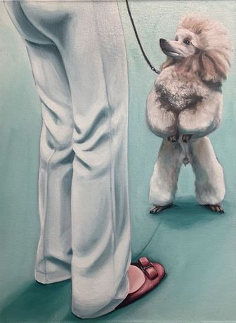Lydia Blakeley. Poodle, 2020. Oil on linen, 24 x 18 1/8 inches (61 x 46 cm)