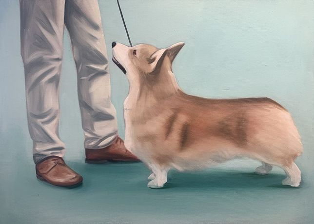Lydia Blakeley. Corgi, 2020. Oil on canvas, 19 5/8 x 27 1/2 inches (50 x 70 cm)