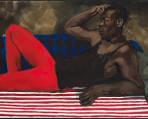 Lynette Yiadom-Boakye, Vigil For A Horseman, 2017 (part 2 of 3). Oil on linen, 51 3/8 × 79 in (130.5 × 200.5 cm). Courtesy the artist; Corvi-Mora, London; and Jack Shainman Gallery, New York