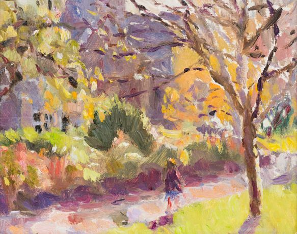 Morning Sunlight in the Park by Lynne Cartlidge RCA, oil on board