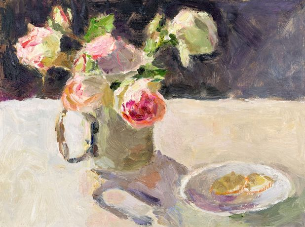 Faded Roses with Lemon Slices by Lynne Cartlidge