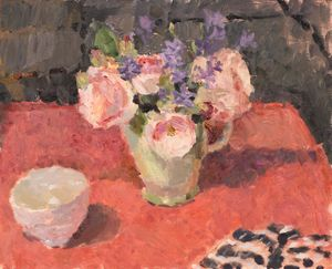 Red table, Roses and Striped Tea Towel by Lynne Cartlidge RCA