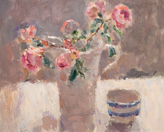 Roses in a White Jug with Striped Bowl by Lynne Cartlidge