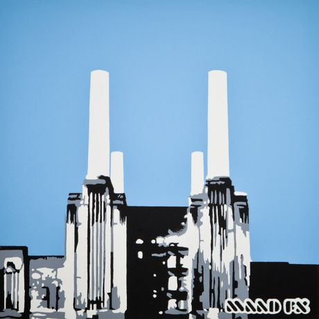 London Battersea Power Station, hand made screen print limited edition from a graffiti spray painting