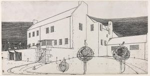 Windy Hill, perspective drawing in ink, 1900, by CR Mackintosh (c) Glasgow School of Art