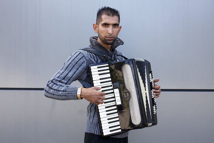 Dennis from Polish Roma with Accordion © Mahtab Hussain - The Commonality of Strangers 2014