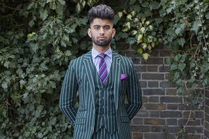 Green Chalk Striped Suit, 2017 © Mahtab Hussain