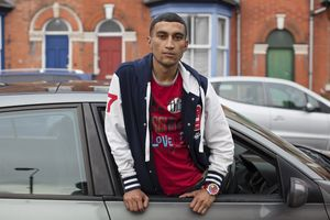 Mahtab Hussain Red t-shirt, baseball jacket, car, from You Get Me?, 2012. Courtesy the artist