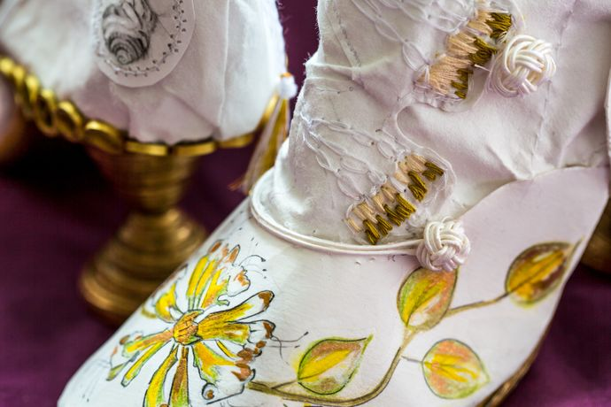 'Stampede' - life size woman's boots - paper and thread - side detail