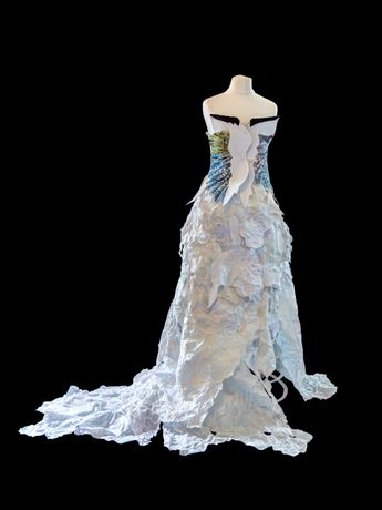 'A flock of sheep and two green woodpeckers' - life size female gown - paper and thread