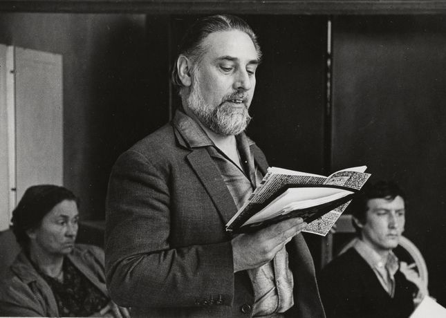 Bob Cobbing reading 'Are Your Children Safe in the Sea' c.1966-1972. Photograph: John Bennett