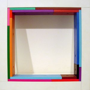 Marc Vaux, SQ 0/3, 1992, Cellulose on aluminium and acrylic on MDF, 26.7 x 26.7 x 5.1 cm