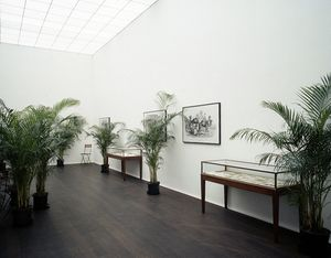 Un Jardin d'Hiver, 1974 Installation with 36 'Kentya' palms, 6 black-and-white photographs of 19th c. engravings, 16 folding chairs, 2 vitrines with 16 original 19th c. engravings and catalogues, 1 red sisal rug rolled, 1 monitor with camera on pedestal Maximum room size: 900 x 1400 cm / 354 3/8 x 551 1/8 in © The Estate of Marcel Broodthaers / DACS 2017