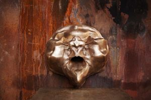 Marguerite Humeau, 35000 A.C (Sphinx Death Mask), 2018. Bronze, 18 1/8 x 8 1/4 x 18 1/8 in (46 x 21 x 46 cm). Courtesy the artist and CLEARING New York/Brussels. Image Credit: Marguerite Humeau - Battaglia Foundry Sculpture Prize #02. Photo: © Virginia Taroni. Courtesy Archivio Fonderia Artistica Battaglia, Milan