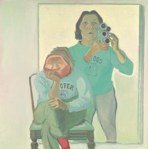Maria Lassnig, 1919-2014 Double Self-Portrait with Camera 1974 (Doppelselbstporträt mit Kamera) 1974 Oil paint on canvas 1800 x 1800 mm © Maria Lassnig Foundation © Artothek of the Republic of Austria, permanent loan, Belvedere Vienna