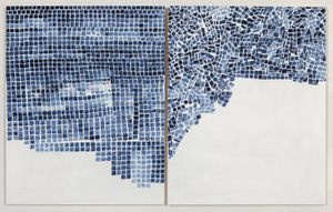 MARJORIE WELISH Before After Oaths Gray 7 , 2013 Acrylic on panel (diptych) 20 x 32 in (50.8h x 81.28w cm) MW063
