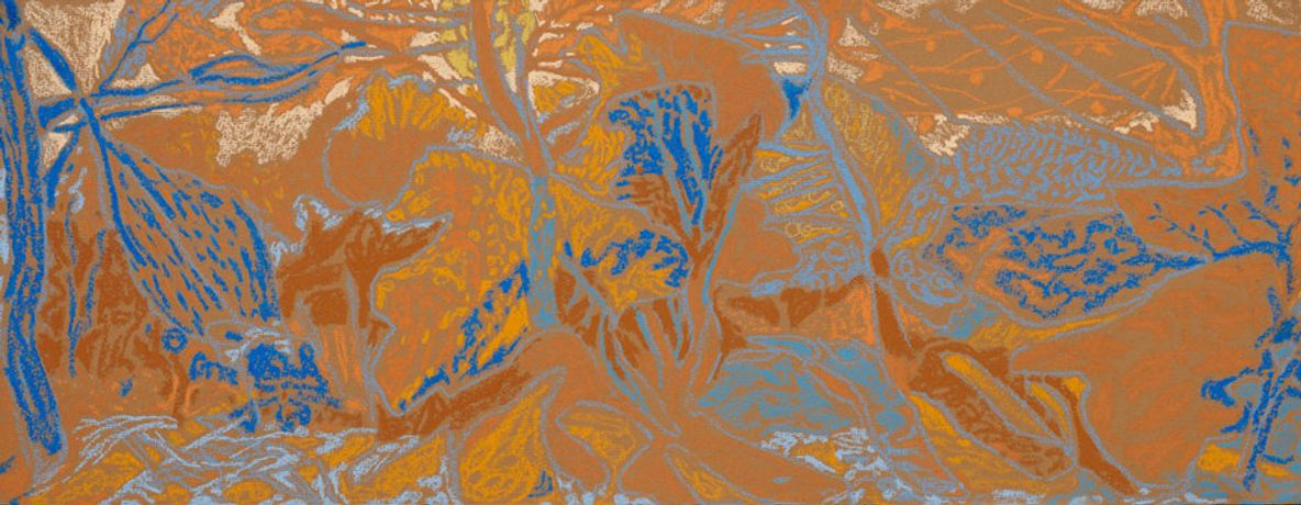 part of Les Basaacs Autumn series, chalk on coloured paper, 25 x 65cm