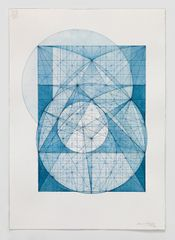 "Mark Reynolds ""The 1.366 Series: Nocturne 44, 6.8.16,"" 2016, Watercolor, Indigo ink, and graphite on cotton paper, 20 x 14.125 inches"