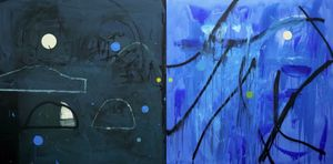 Mark Surridge, Land Forms (Blue) acrylic and ilmenite on canvas 120x240cm