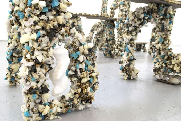 Anna Reading, In Order To Protect, 2019, Wood, foam, gravel, plaster, wire, oyster shells