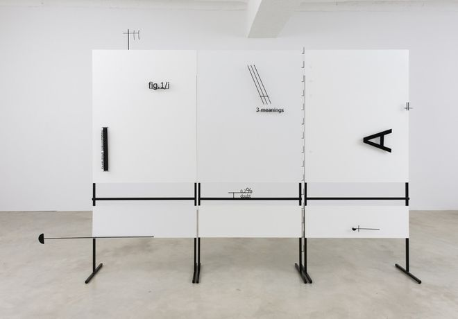 "Marlena Kudlicka, ""Lecture as a contour of A. The beginning of shape"", sculpture 2015, powder coated steel 231cm x 356cm x 40cm, © Marlena Kudlicka, courtesy of the Artist and ŻAK 