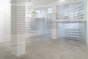 Martha Rosler  Reading Hannah Arendt (Politically, for an American in the 21st Century), 2006 Installation with excerpts from Hannah Arendt's writings, in English and German, on transparent acetate panels, ph Lorenzo Palmieri, Courtesy the artist and Galleria Raffaella Cortese