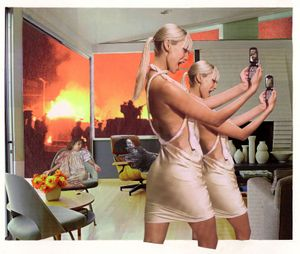 Martha Rosler, Photo-Op, 2004, from the series House Beautiful: Bringing the War Home, New Series. Photomontage. Artwork © Martha Rosler