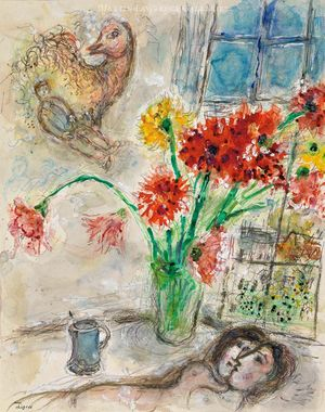 Marc Chagall, Lovers in Bouquet of Dahlias, 1971, watercolor, tempera, pastel, color pencil and pencil on heavy vellum paper image size/ 24 x 19,