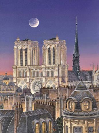 Liudmila Kondakova, Paris Rooftops with Notre Dame, One of a set of Four hand-signed archival prints with han-made serigraph texture plates, 18 x 13.5 inches each
