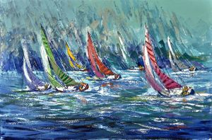 Kerry Hallam Regatta Signature 2018 acrylic on canvas, 24 x 36