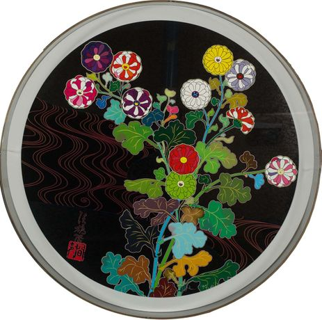 Takashi Murakami, Kansei/ Skulls 2010, hand-signed offset lithograph with cold stamp and high gloss varnish image size, 28 diameter
