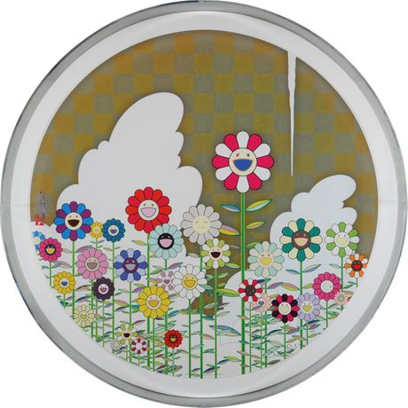 Takashi Murakami, Floating Campsite 2010, hand-signed offset lithograph with cold stamp and high gloss varnish image size, 28 diameter