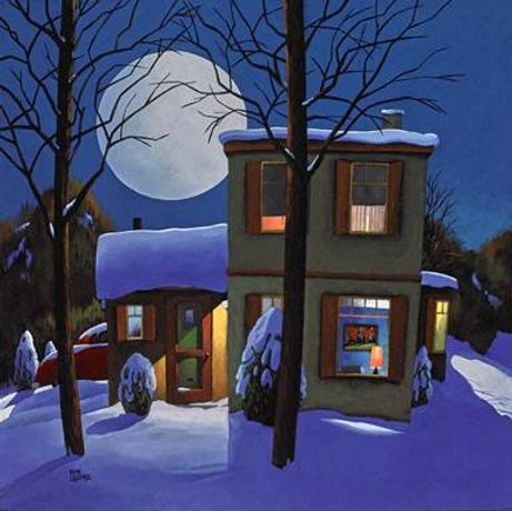 René Lalonde, Winter Magic by Night, acrylic on canvas, 20 x 20 inches