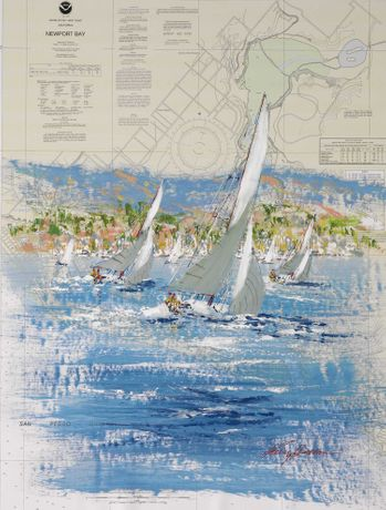 Kerry Hallam, Newport Bay, acrylic on nautical chart
