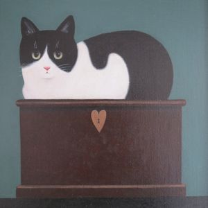 Martin Leman, Cat on a Box, oil on canvas, 30 x 30cm