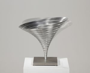 Martin Willing (b. 1958) Parabolkegel groß, 1991 Duraluminum, water jet cut, curved, prestressed, embedded in titanium plate