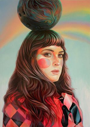 Martine Johanna, Balancing Act, 2020, Acrylic on panel, 39.37 x 27.5 inches