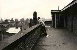Unknown man on the roof of Kingsley Hall