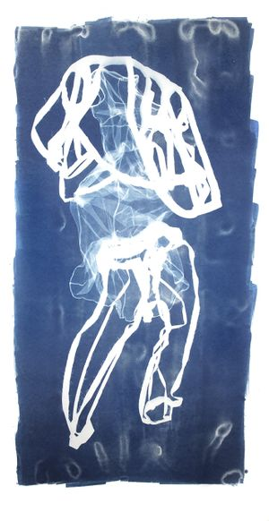 Mary Beth Heffernan Blue 5, 2011 96x51 inch cyanotype photogram From a series of ten unique works Printed by the artist in 2011 Signed by the artist in pencil on verso From the collection of the artist