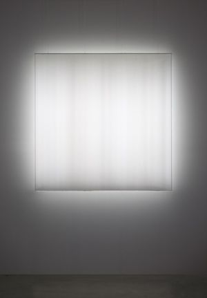 Mary Corse (b. 1945), Untitled (Space + Electric Light), 1968. Argon light, plexiglass, and high-frequency generator, 45 1/4 x 45 1/4 x 4 3/4 in. (114.9 x 114.9 x 12.1 cm). Museum of Contemporary Art San Diego; museum purchase with funds from the Annenberg Foundation. Photograph by Philipp Scholz Rittermann