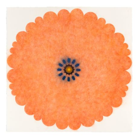 Mary Judge, Pop Flower 29, 2016, powdered pigment on paper, 30 x 30 inches (unframed), 33.75 x 33.75 inches (framed), $3850. (framed)