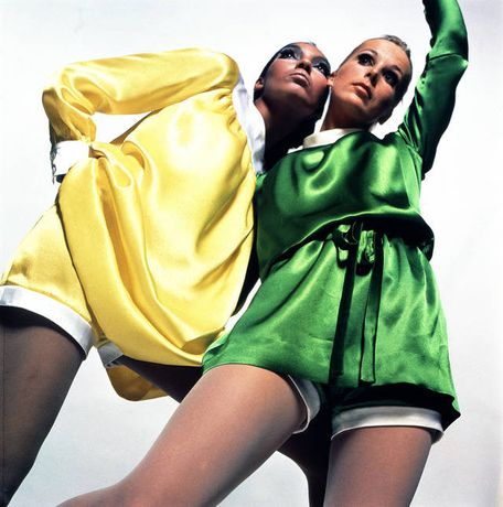 Kellie Wilson and model wearing minidress and matching shorts by Mary Quant, 1966, Photo Duffy © Duffy Archive