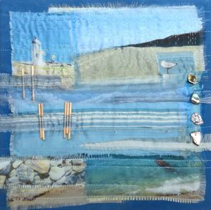 On the shore - fabric and stitch on canvas 30x30