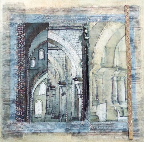 In the abbey - fabric and stitch framed 30x30