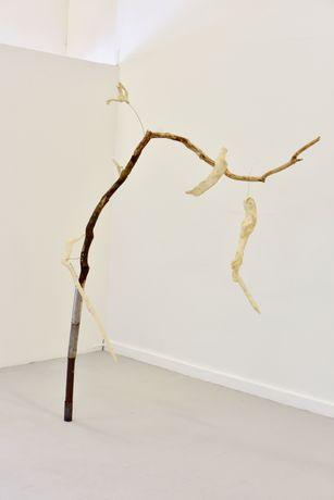 Fiona Campbell, Of Bones, 160 (w) x 210cms (h), found wood, reclaimed steel, copper wire, handmade khadi paper, wax, glue