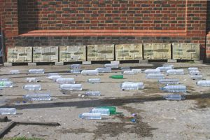 FOUNTAIN FOR THE UNKNOWN PROTESTER, 2015 seven concrete plaques, bottle of water emptied by the public | Views from the installation at Dalston Street Market, London