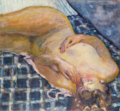 Pierre Bonnard, Reclining nude against a white and blue plaid (Nu couché, fond de carreaux blancs et bleus), ca. 1909, Städel Museum, Frankfurt, © VG Bild-Kunst, Property of the Städelscher Museums-Verein e.V.